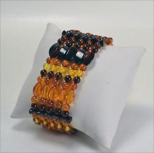 【送料無料】イタリアン ブレスレット オレンジブレスレットワイヤbracciale ambra naturale  elastico a 5 fili      agrp 07