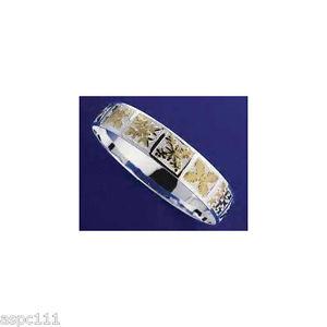 【送料無料】イタリアン ブレスレット シルバーハワイアンメタルブレスレットキルトトーンargento 925 hawaiano bracciale rigido trapunta placcato oro giallo 18mm 2 toni