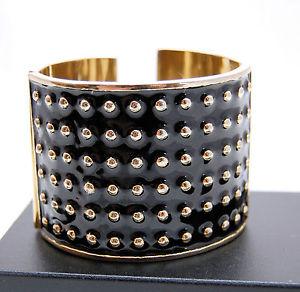 【送料無料】イタリアン ブレスレット リサスチュワートエナメルブレスレットヒンジカフブレスレットlisa stewart grande bracciale braccialetto a cerniera 55 nero smalto braccialetto