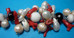 【送料無料】イタリアン ブレスレット カフコーラルビーズシルバーオニキスbracciale donna corallo perle e onice nero su argento 925