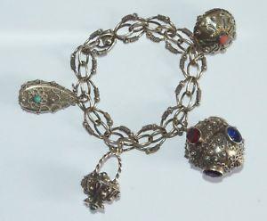 【送料無料】イタリアン ブレスレット ブレスレットアルジェントマッシフbracelet ancien breloques en argent massif 800 dor bijoux berbre
