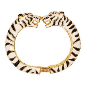 【送料無料】イタリアン ブレスレット ケネスジェイレーンエナメルホワイトタイガーブレスレットkenneth jay lane kjl 22kt goldplated smalto nero e bianco braccialetto tiger