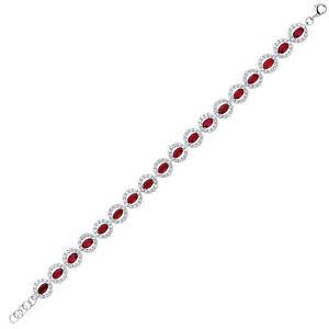 【送料無料】イタリアン ブレスレット シルバーバラハローテニスブレスレットsilver rose rosso ovale cz alternata halo bracciale tennis 775