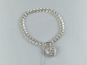 【送料無料】イタリアン ブレスレット シルバーブレスレットペンダントキュービックジルコンパドロックハートargento 925 donna braccialetto con ciondolo zircone cubico lucchetto cuore
