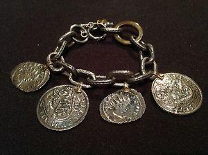 【送料無料】イタリアン ブレスレット プラタゴールドシルバーブレスレットローマ pulsera plata amp; oro monedas romanas bracelet of silver amp; gold roman coins