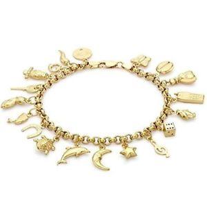 【送料無料】イタリアン ブレスレット ktイエローゴールドブレスレットベルチャー9 kt oro giallo 18 bracciale con charm belcher