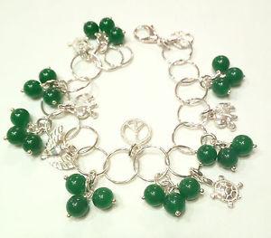 【送料無料】イタリアン ブレスレット カフシルバーペンダントbracciale donna argento 925 con ciondoli e agate verdi fatto a mano b06
