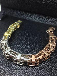 【送料無料】メンズブレスレット トリcolour cage bracelet8 52gmsilver tri colour cage bracelet 8 length 52 gms