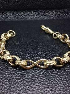 【送料無料】メンズブレスレット listing9ctbelcher infinity patterned bracelet 7 18gm listing9ct gold belcher infinity patterned bracelet 7 length 18 gms