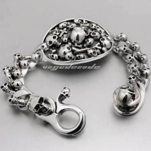 【送料無料】メンズブレスレット 925 スターリングリンクチェーンmensゴシックブレスレットカフス8f011925 sterling silver skulls link chain mens biker punk gothic bracelet cuff 8f011