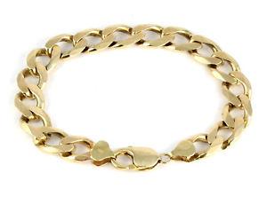【送料無料】メンズブレスレット ビンテージメンズソリッドゴールドフラットリンクチェーンブレスレットgvintage mens gents solid 9ct gold flat curb link chain bracelet ,376g
