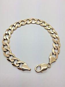 【送料無料】メンズブレスレット イエローソリッドゴールドブレスレット9ct yellow solid gold curb bracelet 8