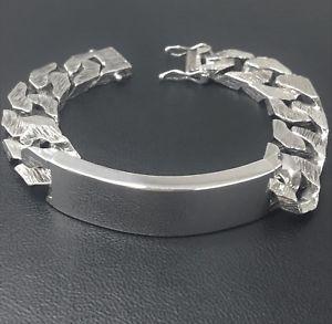 【送料無料】メンズブレスレット sterlingidブレスレットブドウ85953ghm1975 heavymens sterling silver id bracelet vintage 85 bark effect hm1975 heavy 953g