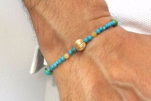 【送料無料】メンズブレスレット 14kイェローゴールドトルコ14k solid yellow gold bead blue turquoise bracelet natural gemstone genuine men