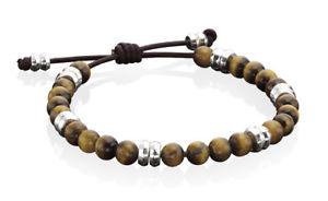 送料無料 メンズブレスレット mensブレスレットmens tigers eye and brown leather adjustable braceletwO8nmN0v