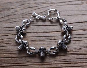 <title>送料無料 メンズブレスレット お洒落 925スターリングmensチェーンカフスブレスレットsolid 925 sterling silver mens heavy skull chain cuff bracelet</title>