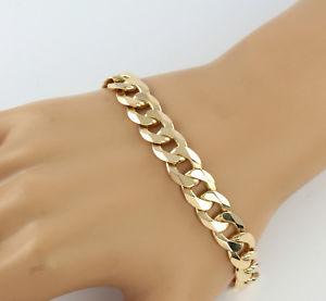 【送料無料】メンズブレスレット ビンテージメンズソリッドゴールドフラットリンクチェーンブレスレットgvintage mens gents solid 9ct gold flat curb link chain bracelet ,309g