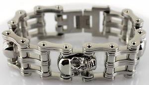 【送料無料】メンズブレスレット mens3オートバイチェーンブレスレット851ワイドワルmens all stainless 3 skull motorcycle chain bracelet 85 length 1 wide badass