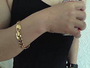 【送料無料】メンズブレスレット 10mm9 18kイェローゴールドチェーンブレスレットクリスマスlifetime guarantee 10mm 9 18k yellow gold plated chain bracelet christmas gift