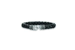 【送料無料】メンズブレスレット カイスターリングシルバーフッククラスプブレスレットcai men leather amp; sterling silver hook clasp 21cm bracelet c4184b900021