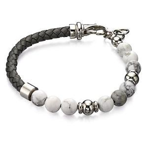 【送料無料】メンズブレスレット フレッドベネットグレーホワイトhowliteブレスレット[b4870]fred bennett grey leather white howlite bead bracelet [b4870]