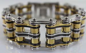 【送料無料】メンズブレスレット 1インチステンレスチェーンブレスレットトリstainless steel chain bracelet tri color 1 inch wide