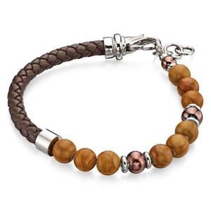 【送料無料】メンズブレスレット フレッドベネットブラウンレザービーズメンズブレスレットfred bennett brown leather amp; beaded mens bracelet b4872
