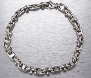 【送料無料】メンズブレスレット メンズイタリアkホワイトゴールドファンシーリンクチェーンブレスレットグラムmens italian 14k white gold 7mm fancy link chain 900 bracelet 153gr