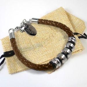 【送料無料】メンズブレスレット メンズブラウンレザーアンプパーソナライズステンレススチールタグブレスレットmens brown leather amp; personalised engraved stainless steel id tag bracelet gift