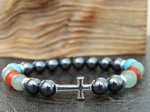 【送料無料】メンズブレスレット マルチカラービーズクロスブレスレットヒップホップmen multicolor natural gemstones beaded cross bracelet hip hopgift
