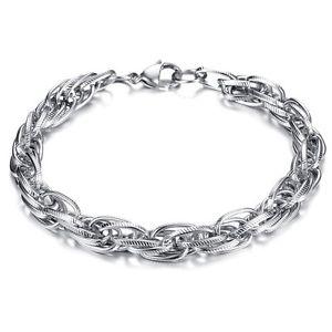 【送料無料】メンズブレスレット ステンレスシルバーブレスレットmensチェーン9stainless steel silver bracelet mens chain biker twist chain 9