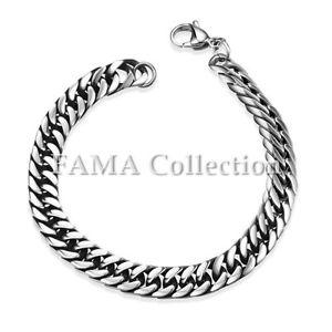 【送料無料】メンズブレスレット fama 7mmステンレスブレスレットロブスターリンクquality fama 7mm stainless steel links bracelet with lobster closure
