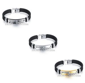 【送料無料】メンズブレスレット スタイリッシュファマステンレススチールギリシャキーゴムブレスレットquality stylish fama stainless steel greek key rubber bracelet select colour