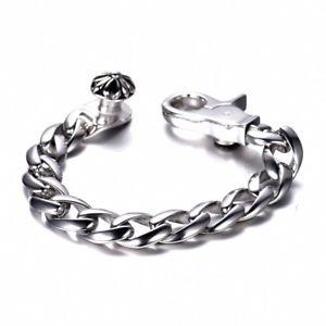【送料無料】メンズブレスレット メンズシルバーステンレススチールリンクチェーンカフブレスレットオープン14mm mens silver 316l stainless steel curb link chain open cuff bracelets gift