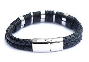 【送料無料】メンズブレスレット mens double leather identity usher personalised engraved braceletgift boxmens double leather identity usher personalised e