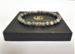 【送料無料】メンズブレスレット ビーズ6mmjaspergreywristwearmens genuine beaded bracelet all 6mm crystal jaspergrey beads limited wristwear