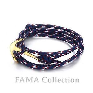 【送料無料】メンズブレスレット famaロープコードラップブレスレットwステンレスアンカーペンダントfama blue rope cord wrap bracelet w stainless steel anchor pendant closure
