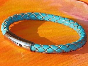 【送料無料】メンズブレスレット メンズレディースミリターコイズレザーライムベイアートステンレススティールブレスレットmens ladies 6mm turquoise leather amp; stainless steel bracelet by lyme bay art