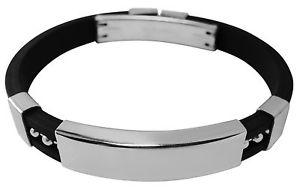 【送料無料】メンズブレスレット メンズブレスレットゴムポーチステンレススチールmens id bracelet rubber amp; stainless steel engraved personalised gift pouch yg