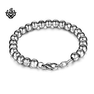 【送料無料】メンズブレスレット シルバーブレスレットクラシックボールチェーンステンレススチールsilver bracelet classic ball chain stainless steel fathers day gift