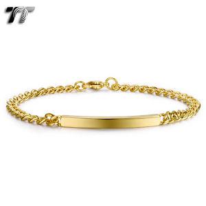 【送料無料】メンズブレスレット スリムゴールドトーンステンレスブレスレットtt slim gold tone stainless steel id bracelet length 215cm bbr232j
