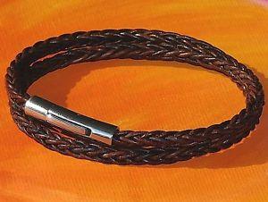 【送料無料】メンズブレスレット メンズレディースレザーアンプステンレススチールブレスレットライムベイアートmensladies 4mm brown braided leather amp; stainless steel bracelet lyme bay art