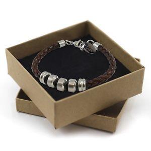 【送料無料】メンズブレスレット カスタムタグブレスレットボックスmens personalised custom engraved leather steel tag bracelet birthday gift box