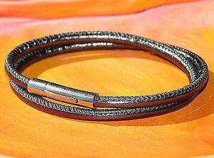【送料無料】メンズブレスレット メンズレディースグレーナッパレザーライムベイアートステンレススティールブレスレットmens ladies grey nappa leather amp; stainless steel bracelet by lyme bay art