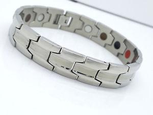 【送料無料】メンズブレスレット バイオブレスレットシルバーステンレススチールmens large single row bio magnetic bracelet stainless steel 5 in 1 silver