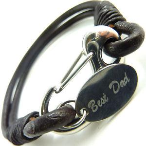 【送料無料】メンズブレスレット メンズステンレススチールブレスレットパーソナライズmens leather and stainless steel bracelet engraved personalised