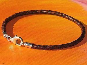【送料無料】メンズブレスレット メンズレディースアンティークブラウンレザーライムベイアートスターリングシルバーブレスレットmensladies 3mm antique brown leather amp; sterling silver bracelet by lyme ba