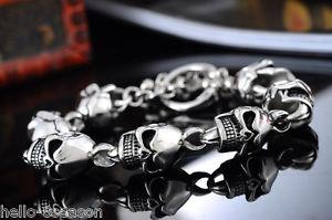 【送料無料】メンズブレスレット ゴシックパンクステンレススチールブレスレット1pc gothic punk men 316l stainless steel 7 skulls bracelet 22cm
