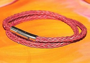 【送料無料】メンズブレスレット メンズレディースピンクレザーライムベイアートステンレススティールブレスレットmensladies 4mm pink braided leather amp; stainless steel bracelet by lyme bay art