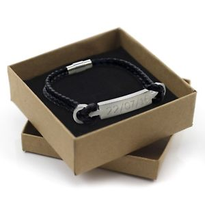 【送料無料】メンズブレスレット メンズレディースレザースチールブレスレットボックスパーソナライズmensladies leather steel bracelet engraved charm personalised with gift box